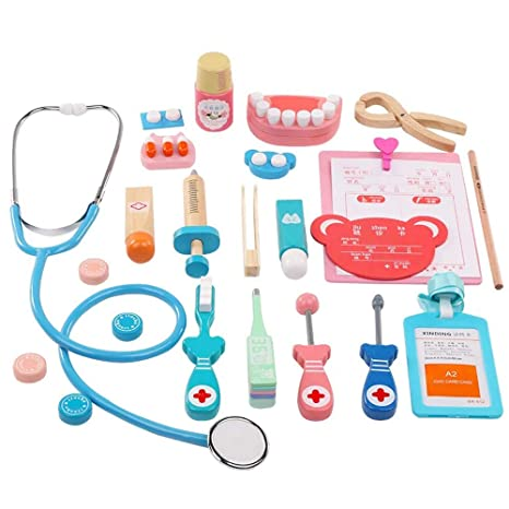 Tangtanger Wooden Toys Doctor Set Kids Doctor Roleplay Funny Dentist Pretend Play Medical Kit With Realistic Stethoscope Gifts Packing