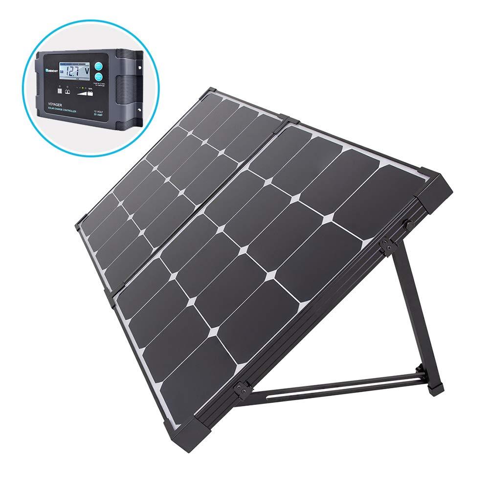 Renogy 100 Watt Eclipse Monocrystalline Charge 20A Voyager Waterproof Controller Solar Suitcase, 100W-Waterproof
