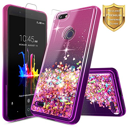 NageBee Compatible with ZTE Blade X Case (Z965) w/[Tempered Glass Screen Protector] Glitter Liquid Quicksand Waterfall Floating Flowing Sparkle Shiny Bling Diamond Girls Cute Case (Pink/Purple)