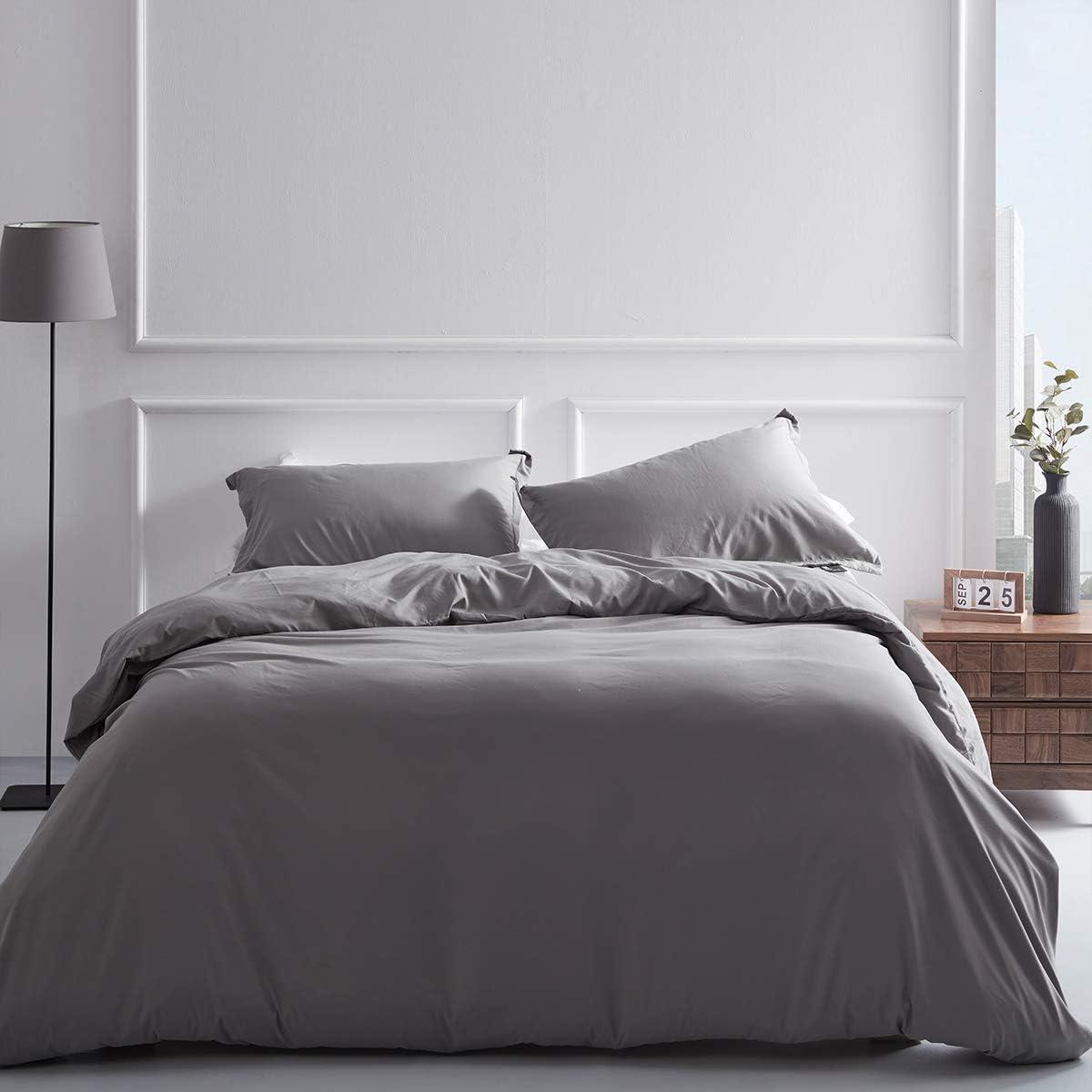 Elcherthe Duvet Cover Set Queen Size, 100% Double Brushed Microfiber 3-Piece Bedding Set(1 Duvet Cover + 2 Pillow Shams), Machine Washable with Button Closure & Corner Ties(Light Grey, 90x90Inches)