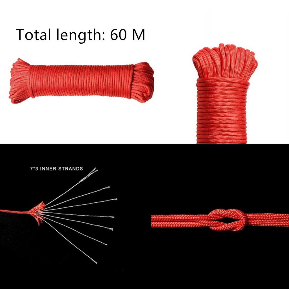 Wolike 15//30//60 metres 7 Strand 100/% Nylon Rope 550 Paracord Fire Cord Red, 30