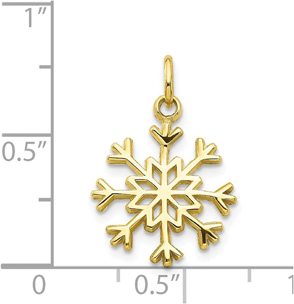 10K Yellow Gold Solid Polished Snowflake Charm