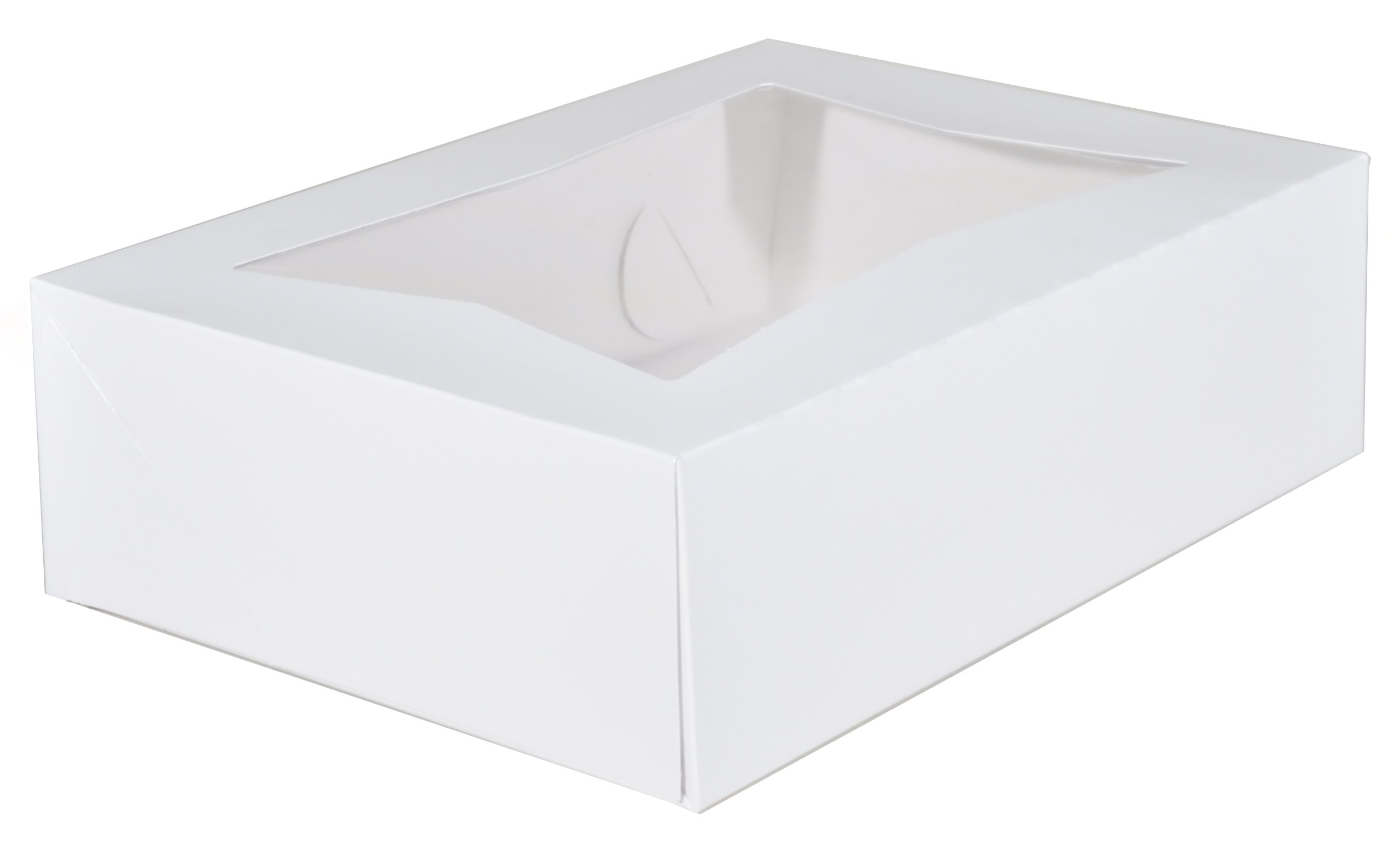 Southern Champion Tray 24263 Paperboard White Window Bakery Box, 14'' Length x 10'' Width x 4'' Height (Case of 100)