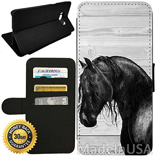Flip Wallet Case for Galaxy S8 (Black Horse on Wood) with Adjustable Stand and 3 Card Holders | Shock Protection | Lightweight | by Innosub ()
