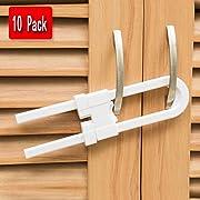 Jelacy Child Safety Sliding Cabinet Locks (10 Pack) - Baby Proof Knobs, Handles, Doors - U Shape Sliding Safety Latch Lock for Kids (White)