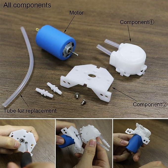 Treedix Peristaltic Dosing Pump Head DC 12v-24v with Hose Connector for Arduino DIY Aquarium Lab Analytic