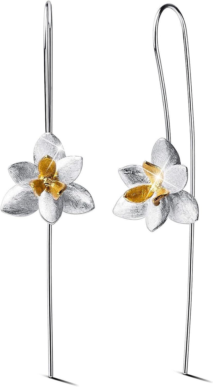 Lotus Fun - Pendientes colgantes de plata de ley 925, colgantes de cristal, con diseño de orquídea elegante, para mujeres y niñas, joyería única hecha a mano
