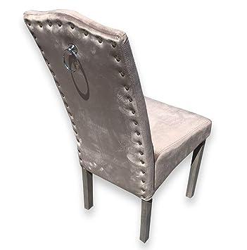 Juego de 2 sillas de Comedor de Terciopelo de Calidad Knockerback - Comedor, Cocina, sillas 2: Amazon.es: Hogar