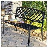 Imperial Ip-sv131fb Lattice Panel Steel /cast Iron Frame Garden Park Bench