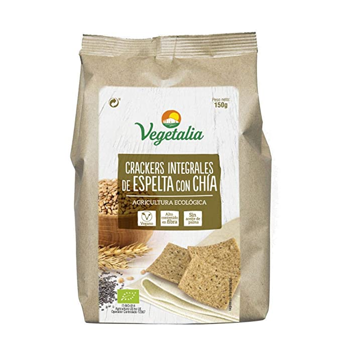 Crackers Integral de Espelta con Chía bio Vegetalia 150 g: Amazon ...