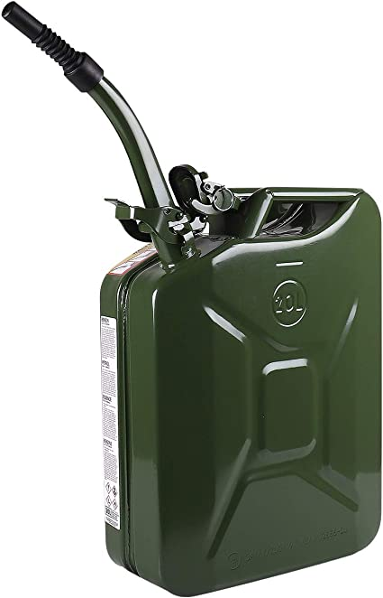 Walter Benzinkanister 20l Mit Flexiblem Einfüllstutzen Trichter Aus Metall Kraftstoff Kanister Grün Sicherheitsverschluss Auto