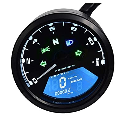 DKMOTORK 0011 Digital Gauge Motorcycle Speedometer/Tachometer/Odometer Universal with Multi-function Indicator Light Display Black: Automotive