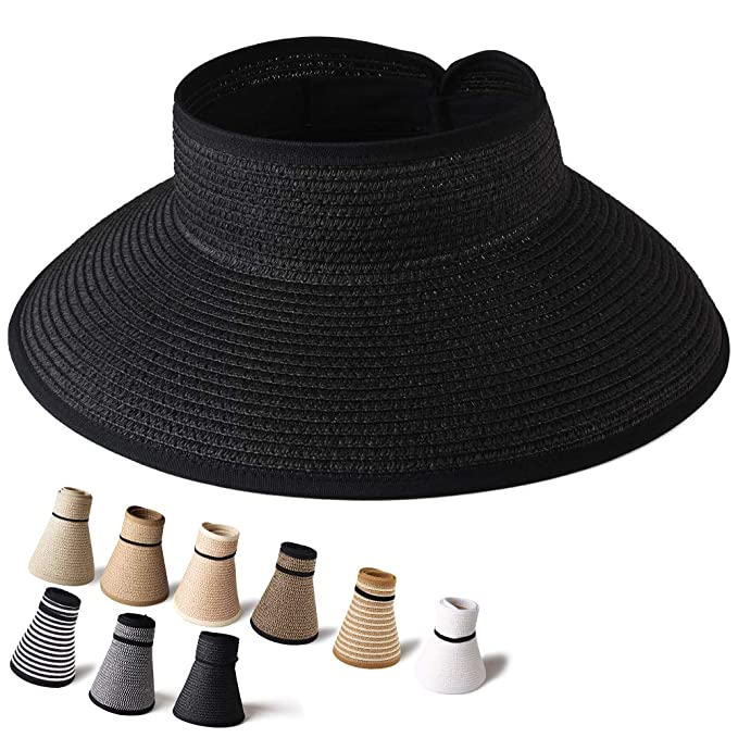 c6b0939ae0c20 Sun Visor Hats for Women Foldable Packable Wide Brim Straw Hat UV  Protection UPF 50 Ponytail