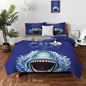 Sea Animals 3 Pieces Ultra Soft Zipper Closure Bedding Set California King Keep Calm and Shark Jaws Attack Predators Hunter Dangerous Wild Aquatic Nature,Wrinkle,Fade,Stain Resistant Washed Blue WHI