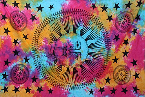 Psychedelic Celestial Sun Moon Stars Tie Dye Tapestry