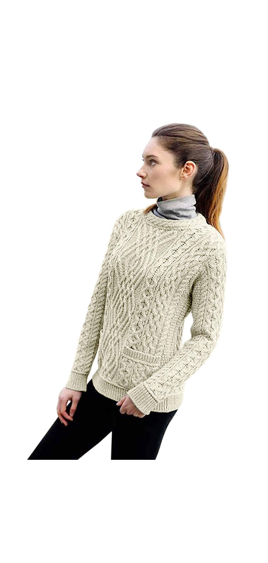 Aran Ladies Crew Neck Sweater With  Pockets