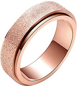 JAJAFOOK Women's 6MM Fashion Stainless Steel Spinner Ring Sand Blast Finish Rose Gold Plated
