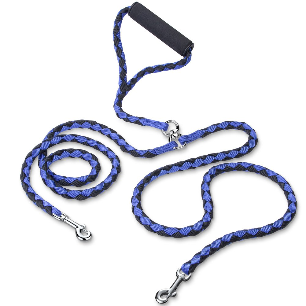 PETBABA Double Dog Leash, Paracord No Tangle Rope Lead Coupler with Padded Handle for Two Dogs - 4.6 ft in Blue