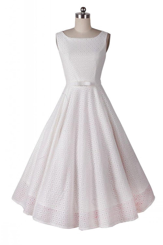 Damen 50s Retro Vintage Rockabilly Kleid Hepburn Stil Rundausschnitt Kleid Partykleid Cocktailkleid Gr.36-48