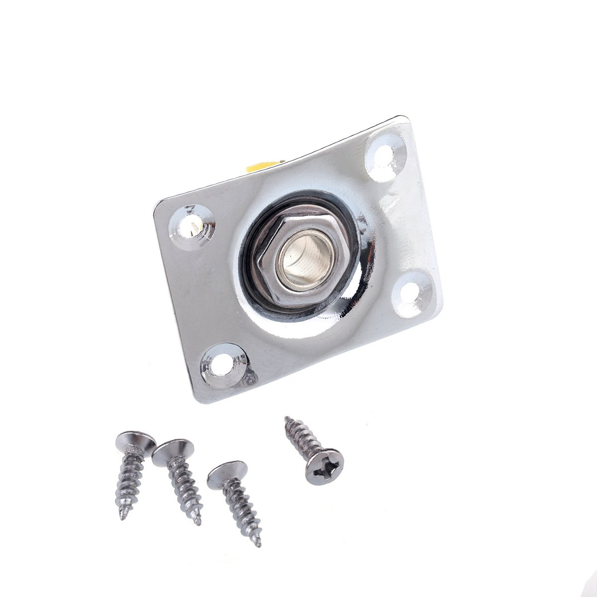 Musiclily 1/4'' 6.35mm Guitar Mono Output Jack Plate Input Socket for Gibson LP Les Paul Electric Guitar, Chrome