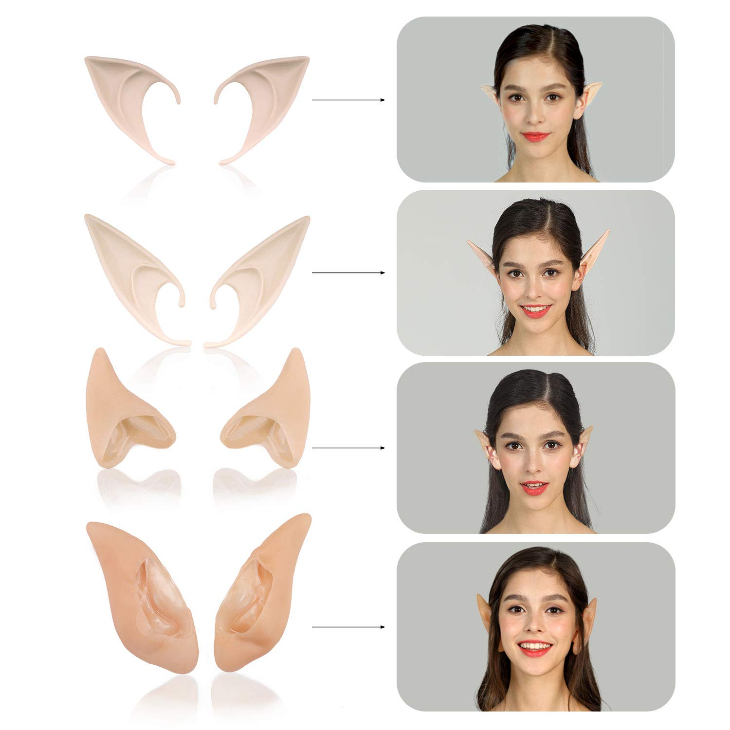 Jeicy Cosplay Fairy Pixie Elf Ears Anime Halloween Elven Ears Goblin Party Dress Up Costumes Accessories 4 Pair(Style 1) by Jeicy