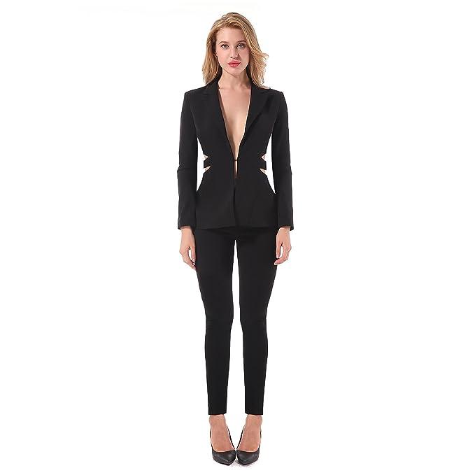promo code 56ac8 a190e CIEMIILI - Tailleur pantalone - Donna Black L: Amazon.it ...