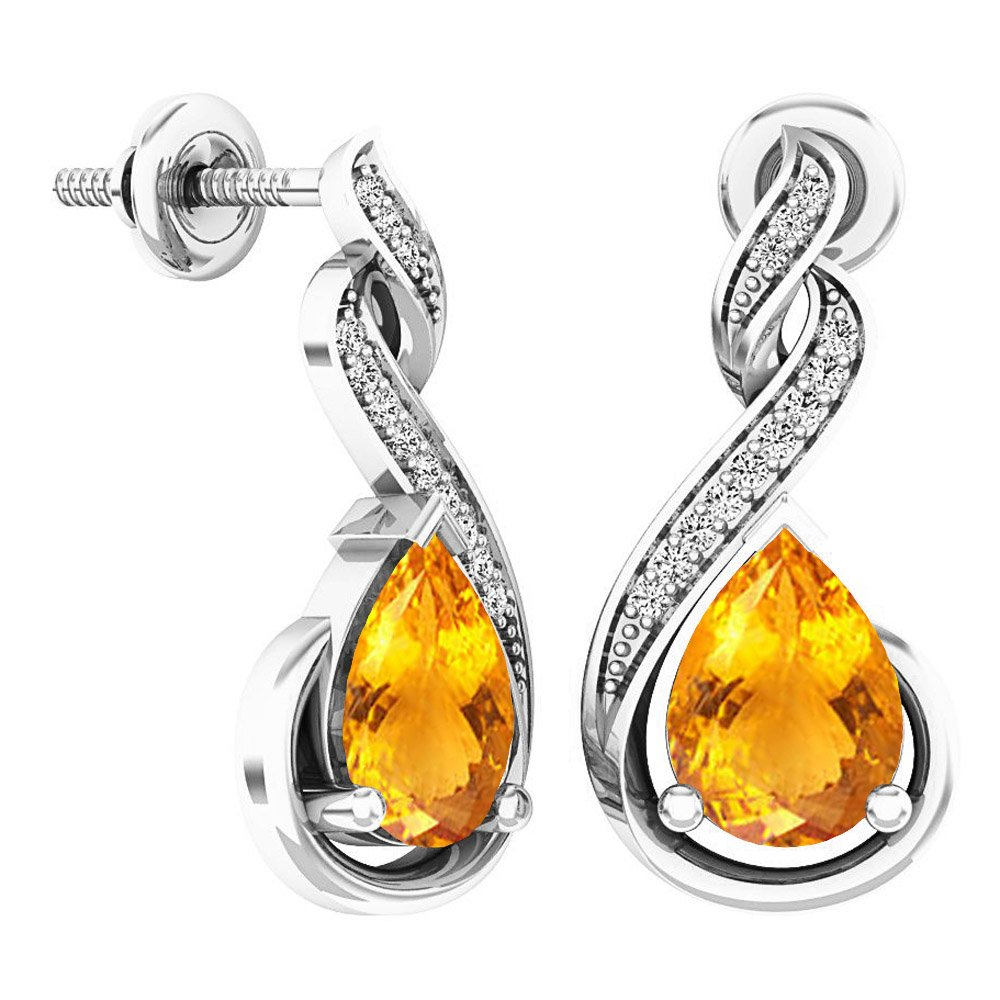 Dazzlingrock Collection 8X6 MM Each Pear Citrine & Round Diamond Ladies Infinity Dangling Earrings, Sterling Silver