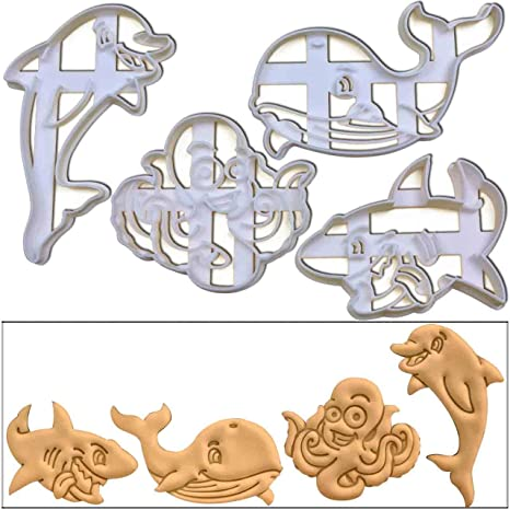 release date great prices best prices Amazon.com: SET of 4 Marine Animal cookie cutters (Dolphin ...