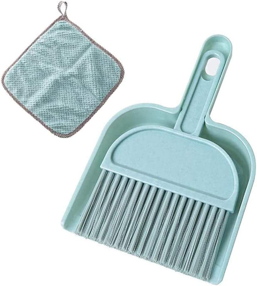 Meiosuns Mini Dustpan and Brush Set, Multi-Functional Cleaning Tool with Hand Broom Brush, Plastic Dust Pan, Coral Fleece Dishtowel/Cleaning Cloth for Home Kitchen Keyboard Cars (2-Piece, Blue)