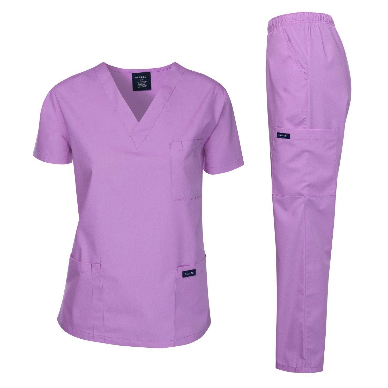 Dagacci Medical Uniform Women's Medical Scrub Set Top and Pant, Lavender, XXXL