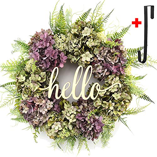 - Hydrangea wreaths for front door,Outdoor summer wreaths for front door,Fall spring handmade Hello Wreath for Front Door,Farmhouse Wreath ,Rustic Wreath,Grapevine Wreath,Window Decoration (21 inches)