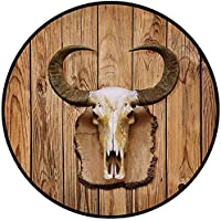 Printing Round Rug,Western,Buffalo Bull Skull with Horns Hanging on Rustic Wooden Plank Image Print Mat Non-Slip Soft Entrance Mat Door Floor Rug Area Rug For Chair Living Room,Light Brown and Ivory