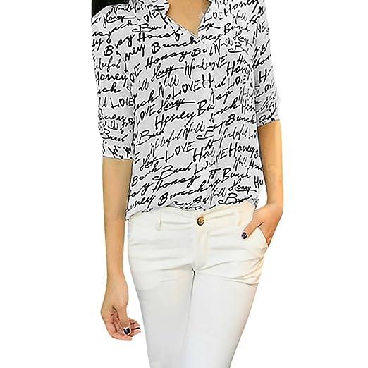 e74e09850b1 Misaky Women 3 4 Sleeve Letter Pattern Chiffon Blouse Tops Office Work  Shirts (S