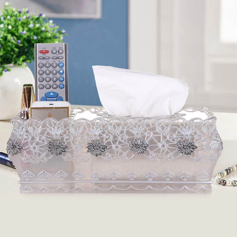 HapHomeSPus Napkin Box,Resin Tissue Box,Rectangle Paper Towel Tube Box Home Office Lavatory Automotive Decoration (Color : White) by HapHomeSPus