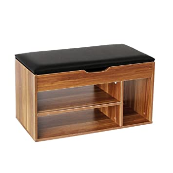 Soges Shoe Storage Cabinet Wooden Ottoman Bench Removable Seat