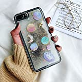 Comet Universe Galaxy Glitter Flowing Clear Case for iPhone 7+ iPhone 7Plus 8Plus Large Size 5.5' Screen 3D Cartoon Shockproof Protective Cool Fun Kawaii Cute Fashion Gift Girls Teens Kids Women
