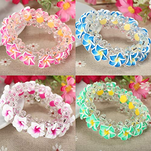 Gabcus 5pc/lot Handmade Cheap Polymer Clay Plumeria Flower Femmes The Bracelet Female Bangle with for Women Holiday Jewelry Accessories - (Metal Color: Mixed Color)