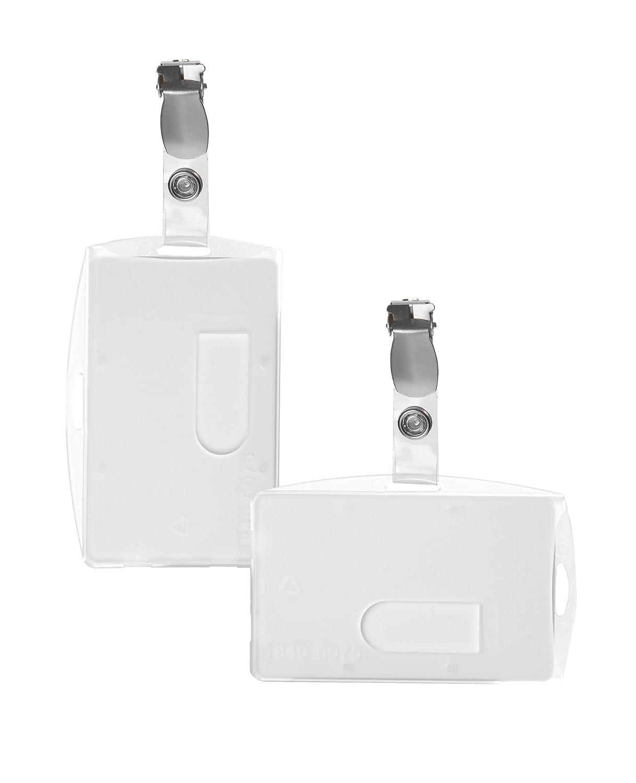 Karteo®Porte-badge en polypropylene (86mm x 54mm) transparent horizontalement avec clip