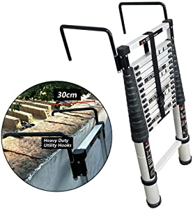 WLABCD Telescopic Ladder Portable Collapsible Ladders,Aluminum Telescoping Ladder with Heavy Duty Utility Hooks, Extension Multi Purpose Ladders for Home Use Roof Indoor Outdoor Activities