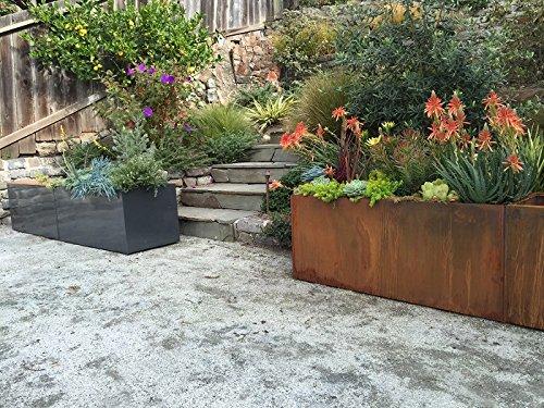 Nice Planter Aluminum Trough Planter, 20'' x 46'', Charcoal Grey