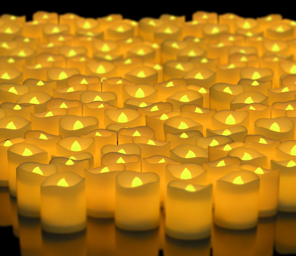 LED Lighted Flickering Votive Style Flameless Candles - Banberry Designs - Box of 288 - Wedding Decorations - Faux Candles - Flameless Candle Set – Centerpieces