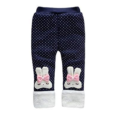 470c3cfbc330 Amazon.com  Baby Girl Winter Warm Pants Plus Thick Velvet Rabbit ...