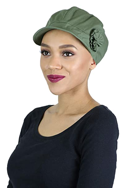 070f421f4f9017 Newsboy Cap Summer Hats for Women Cancer Headwear Chemo Hair Loss Head  Coverings Cotton (Olive) at Amazon Women's Clothing store: