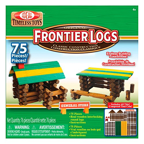 - Ideal Frontier Logs 75 Piece Classic Wood Construction Set