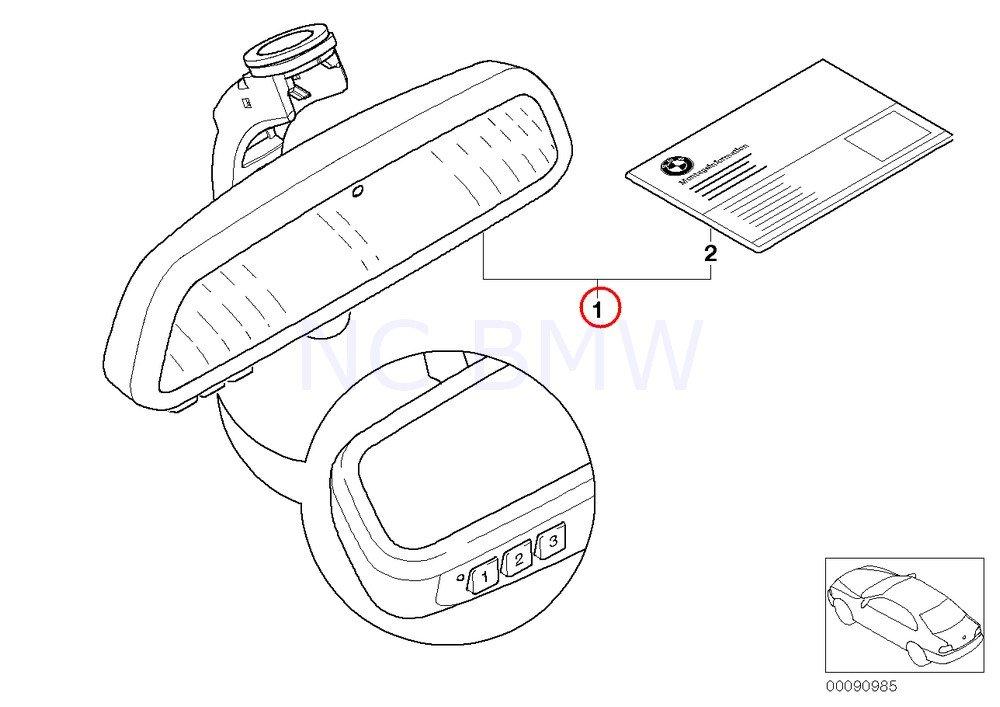 Amazon Com Bmw Genuine Rearview Mirror Ec Led Gto Remote