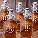 Monogrammed Set of 5 Glass Flasks - Circle Monogram
