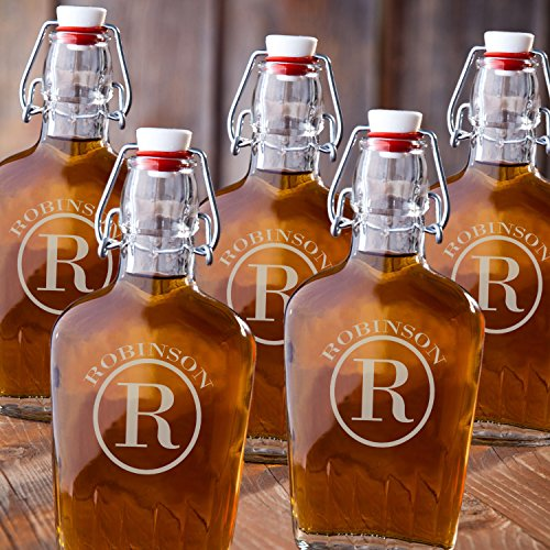 Monogrammed Set of 5 Glass Flasks - Circle Monogram by A Gift Personalized