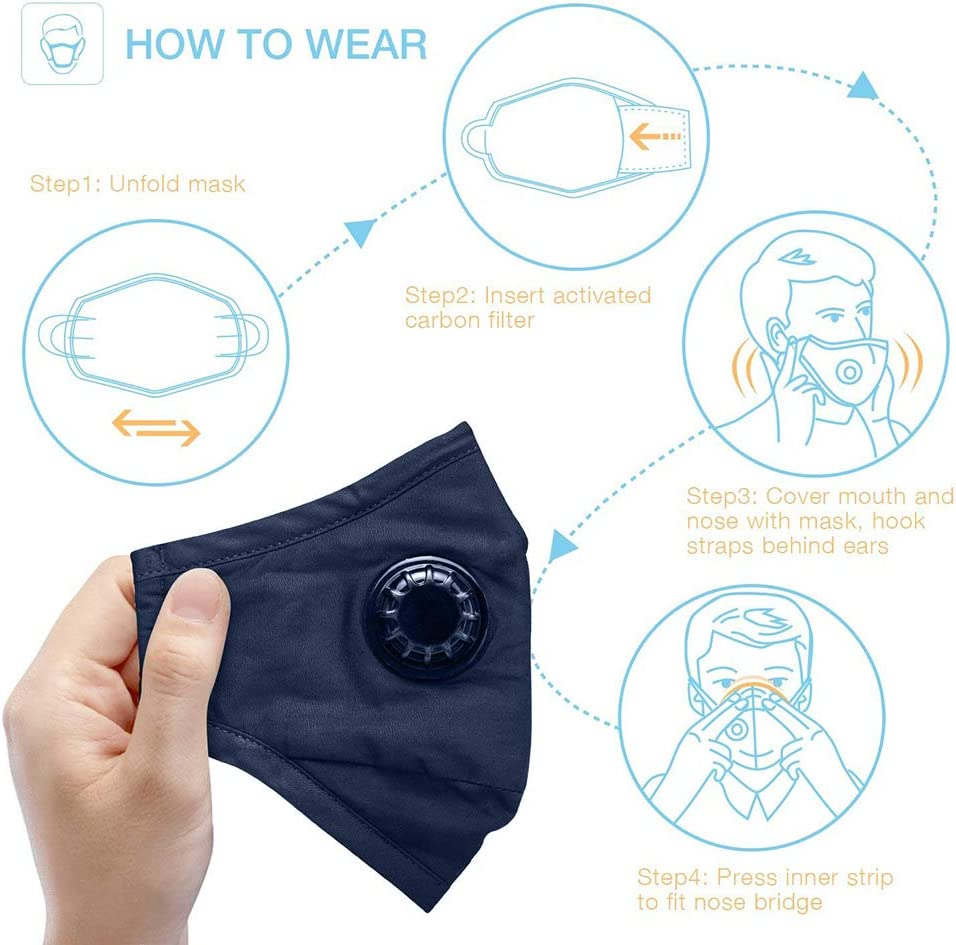 Face Mask 2Pcs Anti Dust Mask Face Mouth Mask PM 2.5 Air Pollution Masks with 4 Replacement Filters Washble Reusable Dustproof Cotton Masks wuth Activated Carbon Filters and Breathing Valve