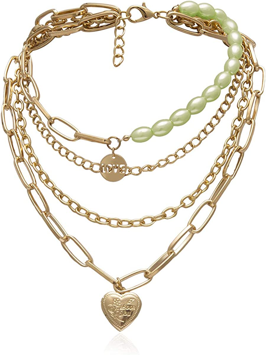 Ingemark Statement Cool Punk Chunky Chain Necklace for Women Girls Heart Shaped Photo Locket Pendant Layered Pearl Choker Necklace (Style 2 Green Pearls)