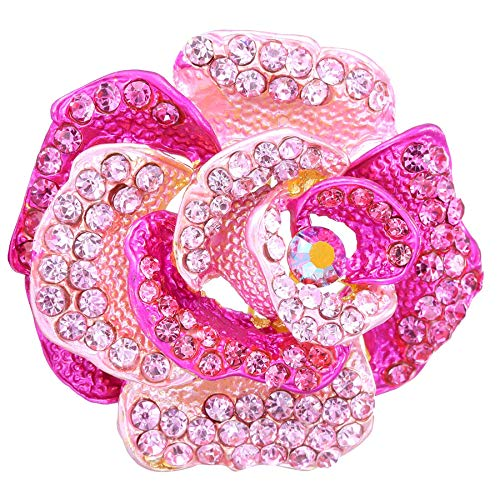 (Connie Cloris Women's Crystal Rhinestone Blooming Beautiful Rose Flower Brooch Pin (Pink))
